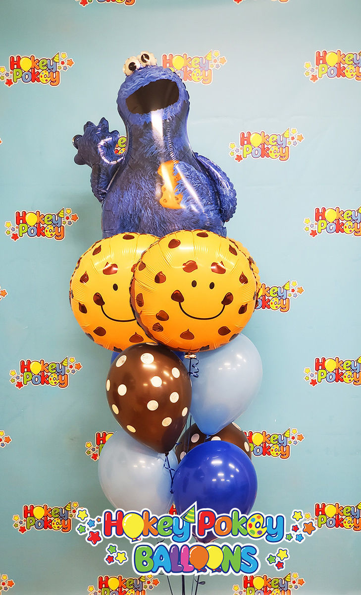 Picture of Cookie Monster Balloon Bouquet of 9 (helium filled)