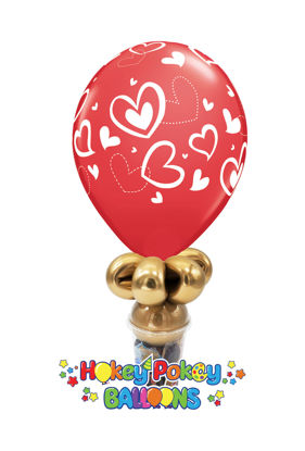 Picture of 11'' Mix and Match Red Hearts -  Balloon Candy Cup