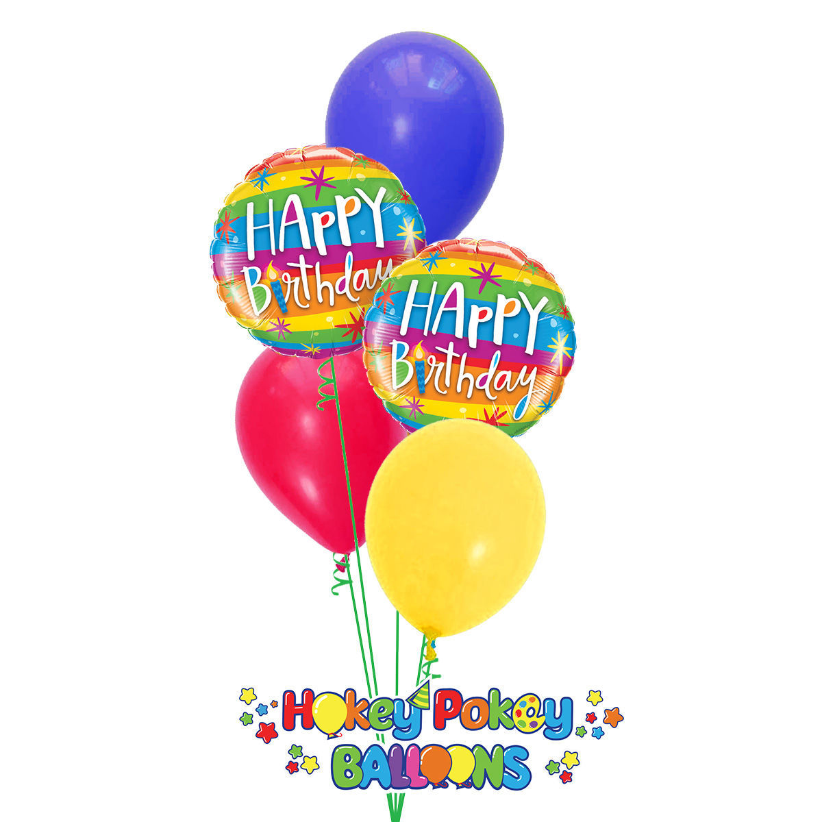 Picture of Rainbow Stripes Birthday Balloon Bouquet of 5