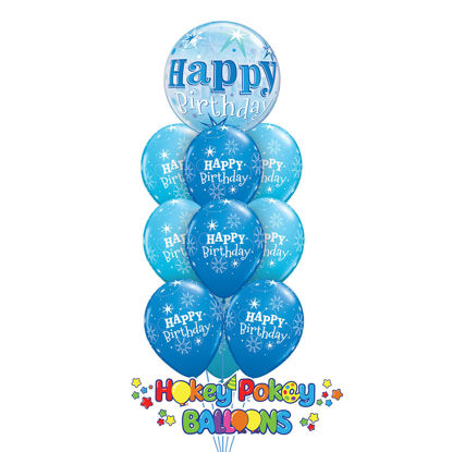 Picture of Birthday Sparkle Bubble Deluxe - Balloon Bouquet of 10