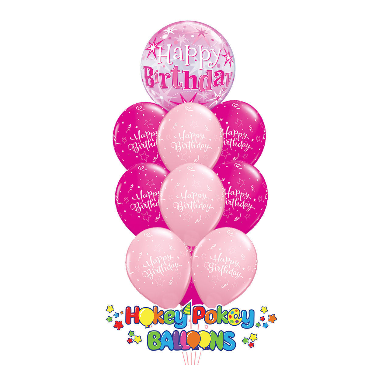 Picture of Shining Star Birthday Sparkle Bubble Deluxe - Balloon Bouquet of 10