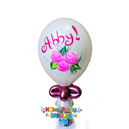 "Picture of 11"" Hand painted Roses - Personalized Balloon Candy Cup"