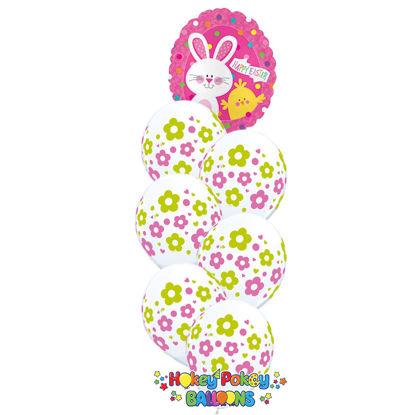 Picture of Happy Easter Bunny & Chick Balloon Bouquet of 7