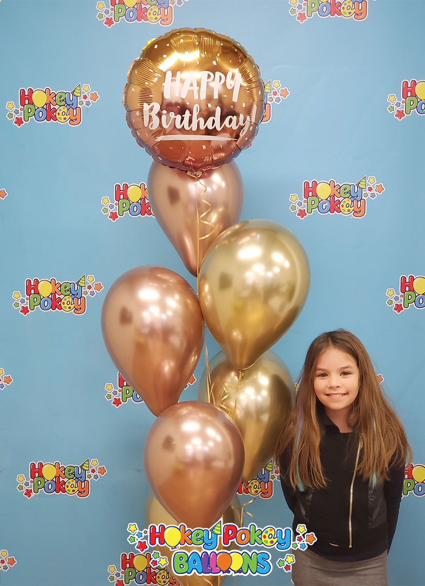 Picture of Gold & Rose Gold Ombre  Birthday Balloon Bouquet of 7