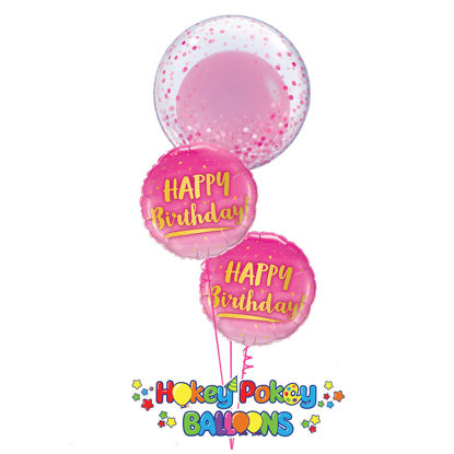 Picture of Birthday Gold & Pink Balloon Bouquet with Deco Bubble