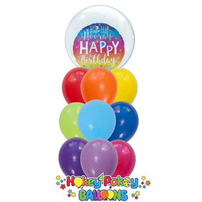 Picture of Hip Hip Hooray Birthday Balloon Bouquet of 9 with a 24'' Deco Bubble