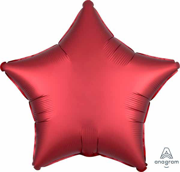 """Picture of 19"""" Satin Luxe Sangria Red Star Foil Balloon (helium-filled)"""