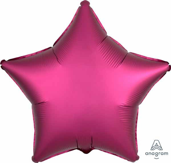 """Picture of 19"""" Satin Luxe Pomegranate Star Foil Balloon (helium-filled)"""