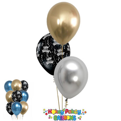 Picture of 11'' Birthday  Around  with Chrome Balloon Bouquet (up to 13 balloons)