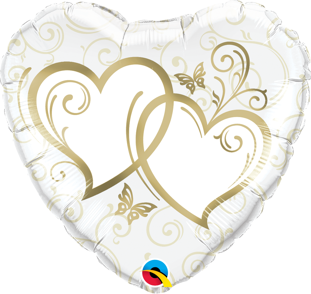 """Picture of 18"""" Entwined Hearts Gold Foil Balloon  (helium-filled)"""