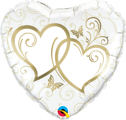 "Picture of 18"" Entwined Hearts Gold Foil Balloon  (helium-filled)"
