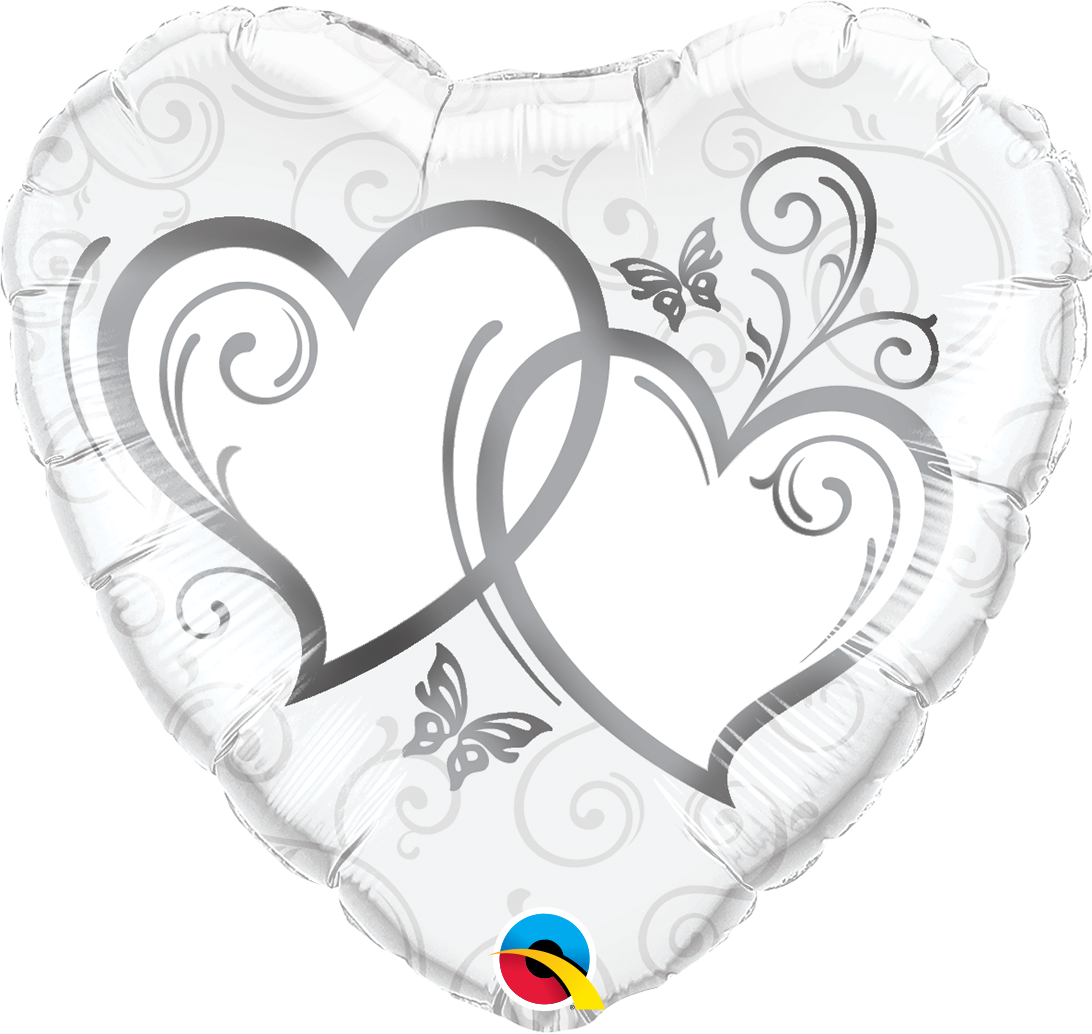 "Picture of 18"" Entwined Hearts Silver Foil Balloon  (helium-filled)"