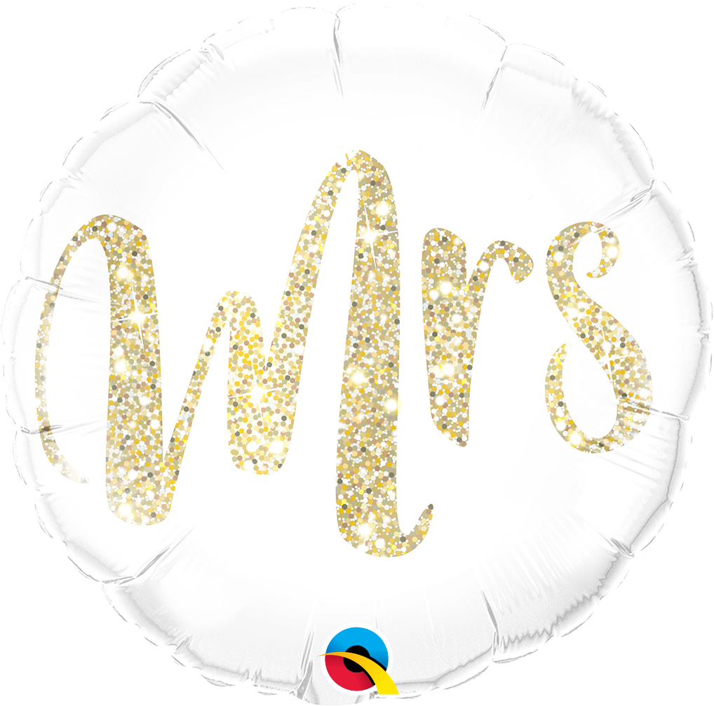 """Picture of 18"""" Mrs. Glitter Gold Foil Balloon  (helium-filled)"""