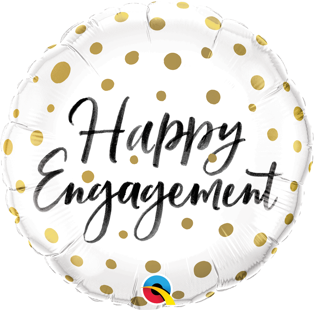 """Picture of 18"""" Happy Engagement Gold Dots Foil Balloon (helium-filled)"""