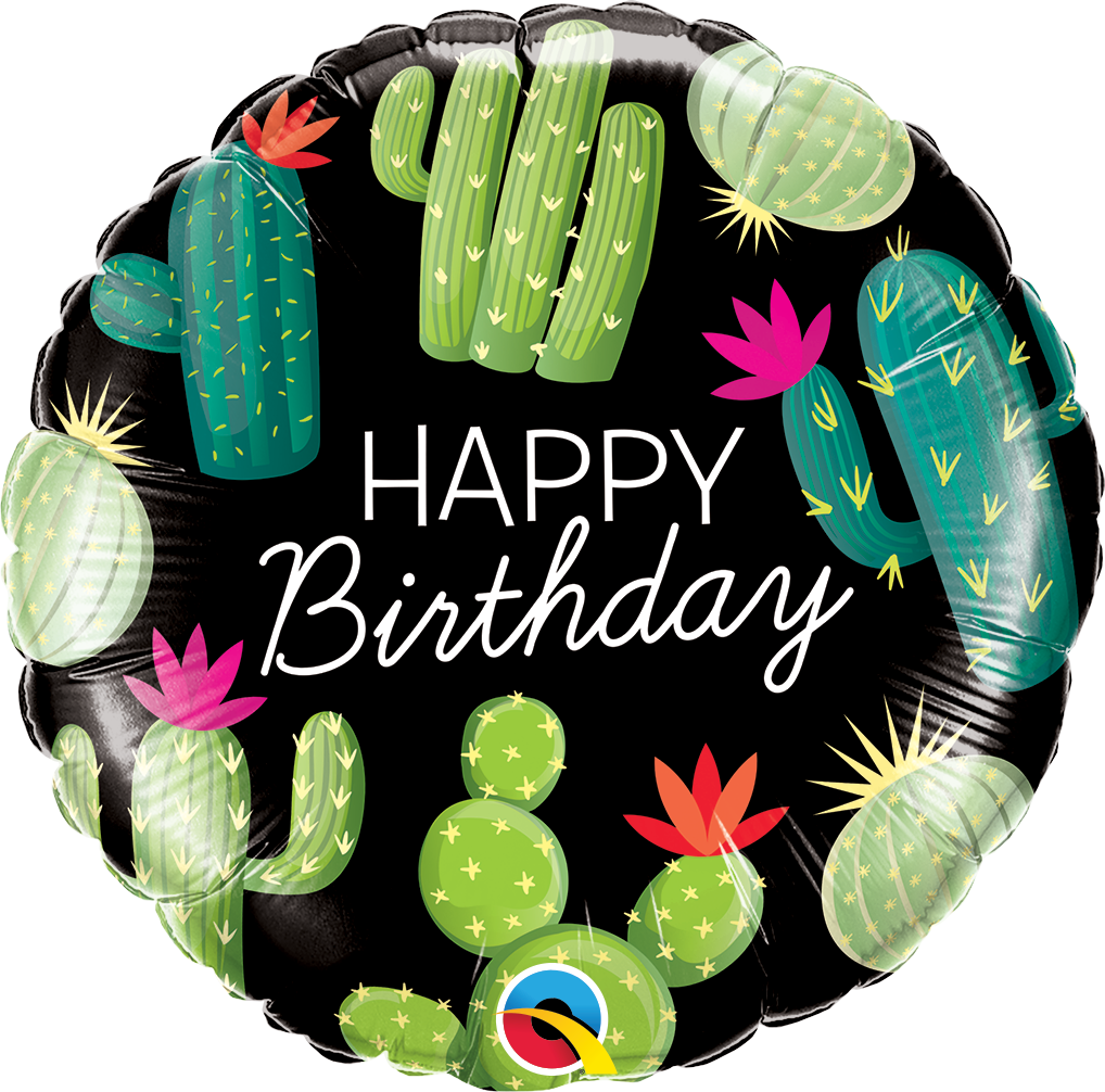 "Picture of 18"" Happy Birthday Cactuses Foil Balloon (helium-filled)"