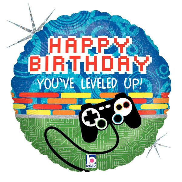 """Picture of 18"""" Game Controller Birthday - Holographic Foil Balloon (helium-filled)"""