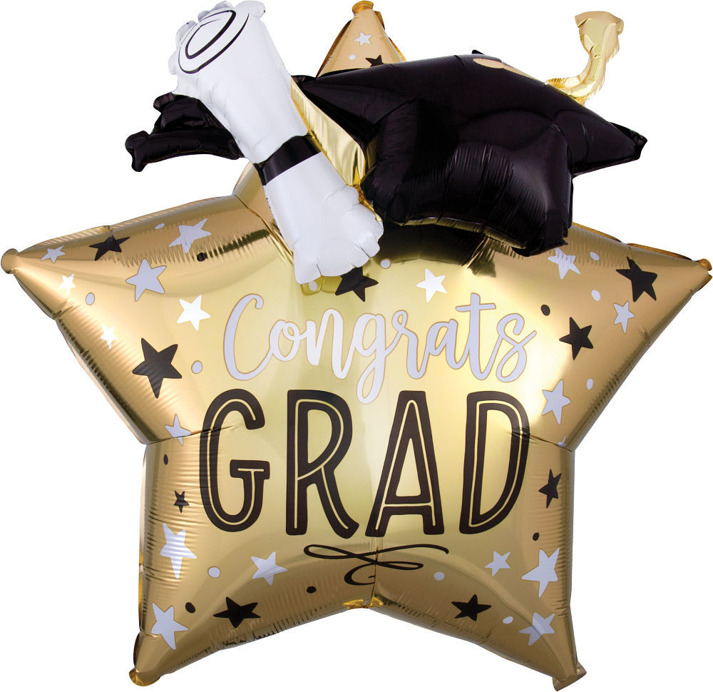 Picture of 28″ Graduation Star, Cap and Diploma Jumbo  Foil Star Balloon (helium-filled)