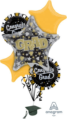 Picture of Grad Sparkle - Graduation Foil Balloon Bouquet (5 pc)
