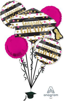 Picture of Gold Confetti - Graduation Foil Balloon Bouquet (5 pc)