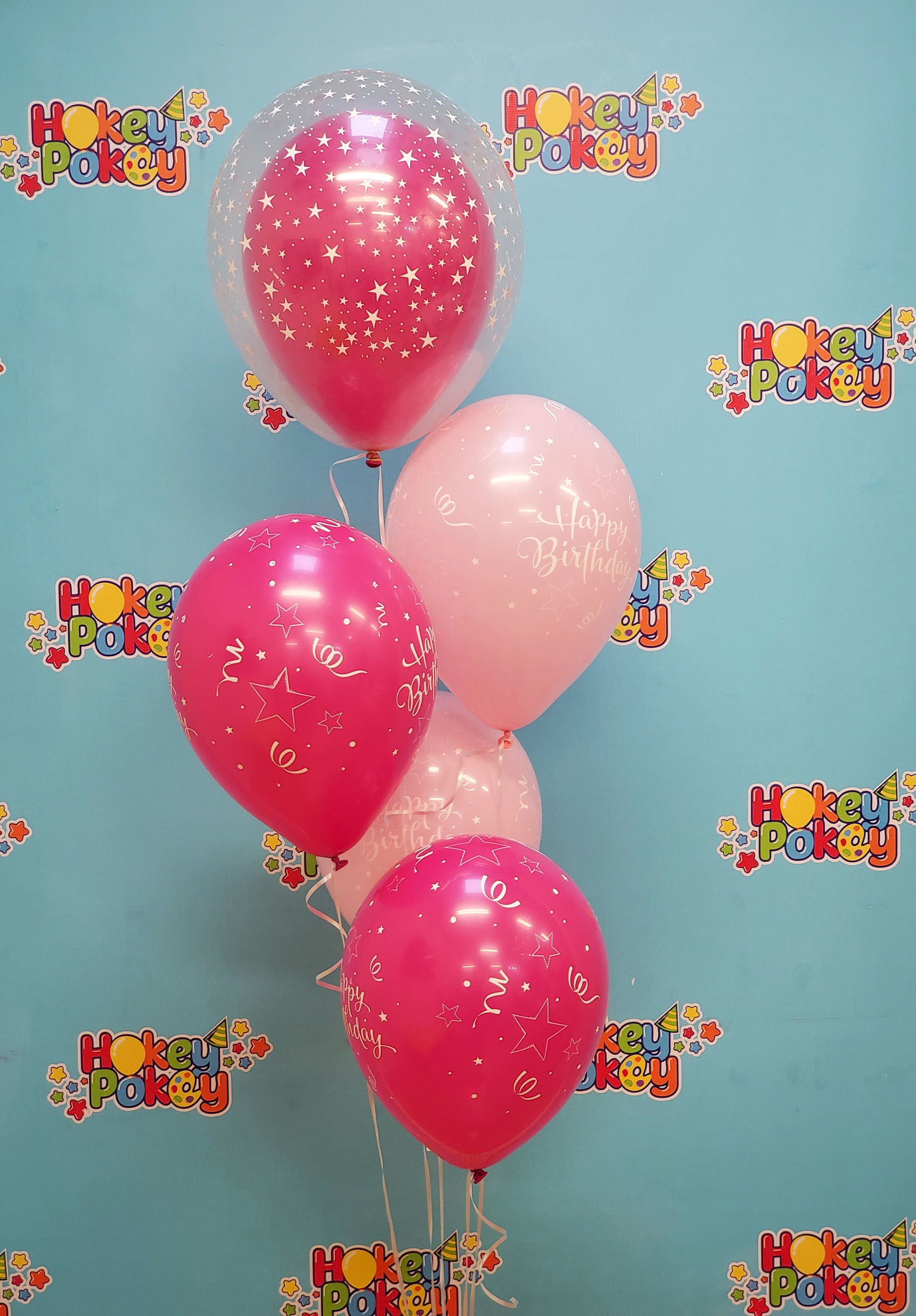 Picture of 11'' Birthday Shining Star Pink Balloon Bouquet  with Clear Topper