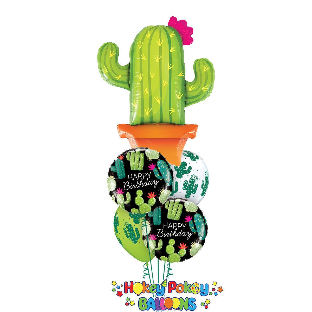 Picture of Birthday Fiesta Balloon Bouquet with Jumbo Cactus