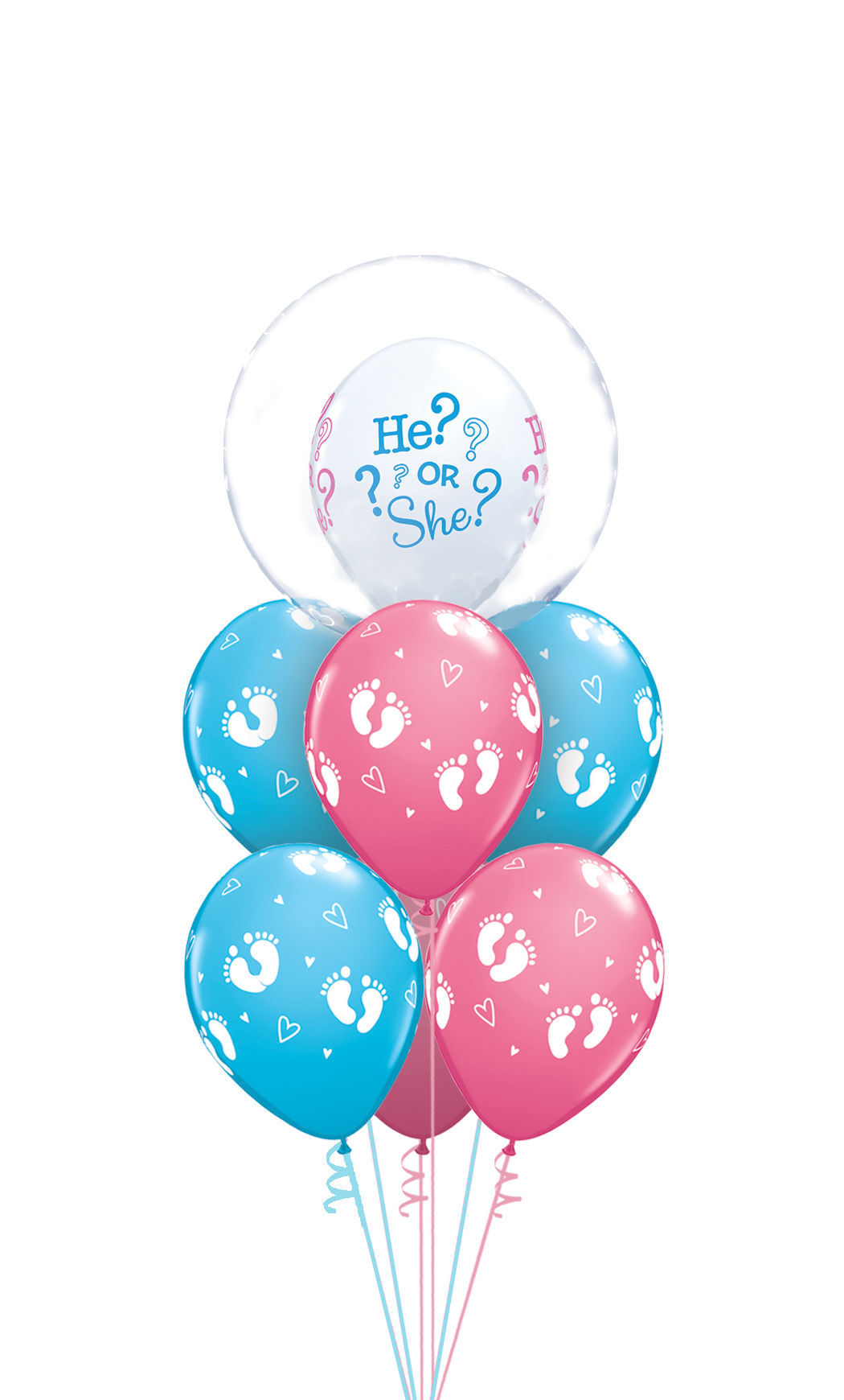 Picture of What Will You Be? He or She? Balloon Bouquet with Deco Bubble