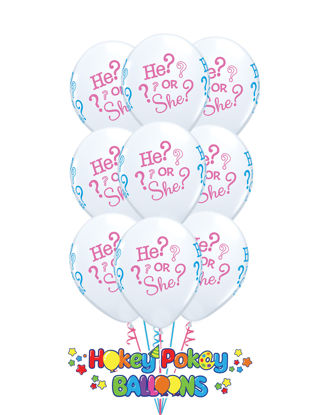 Picture of 11'' He or She?  -  Latex Balloon Bouquet (up to 12 balloons)