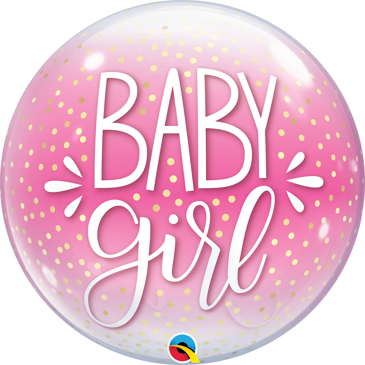 Picture of 22″ Baby Girl Pink & Confetti Dots Deco Bubble  (helium-filled)