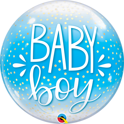 Picture of 22″ Baby Boy Blue & Confetti Dots Deco Bubble  (helium-filled)
