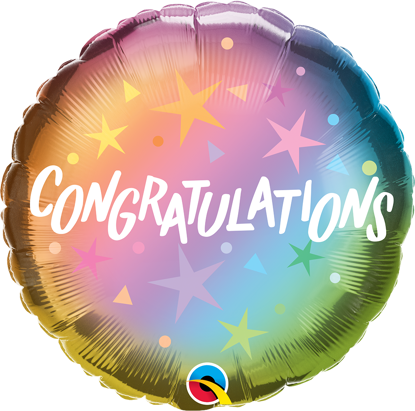 """Picture of 18"""" Congratulations Ombre & Stars Foil Balloon  (helium-filled)"""