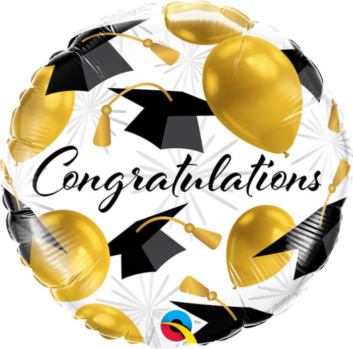 "Picture of 18"" Congratulations Gold Foil Balloon  (helium-filled)"