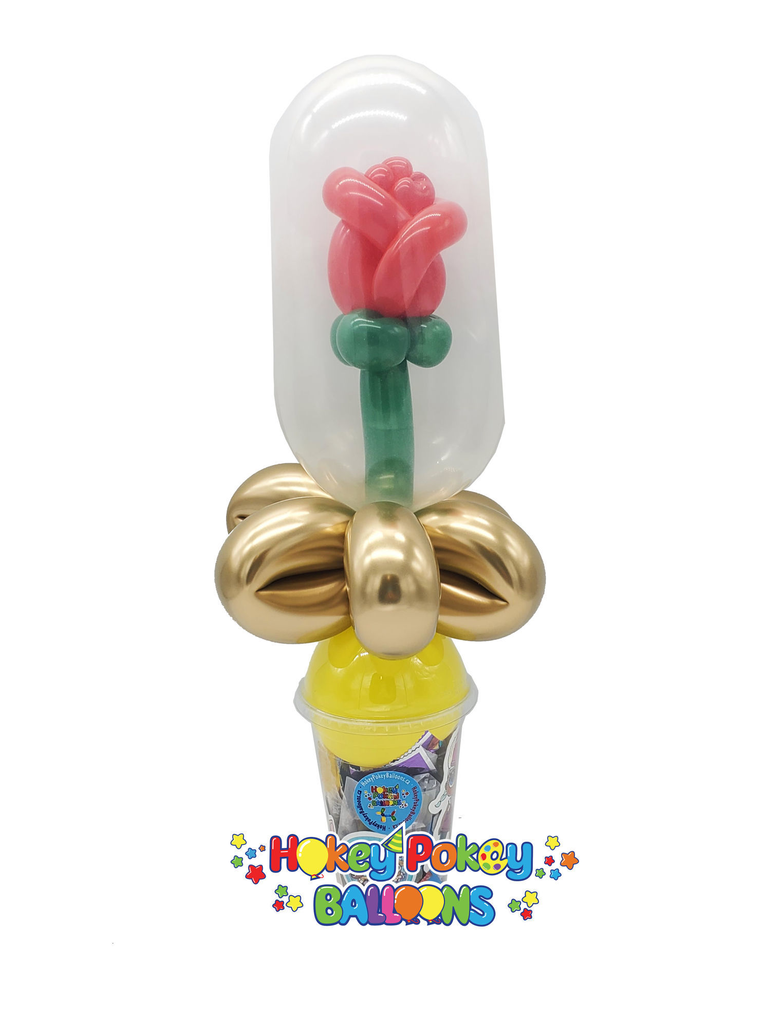 Picture of Enchanted Stuffed Rose Balloon Candy Cup