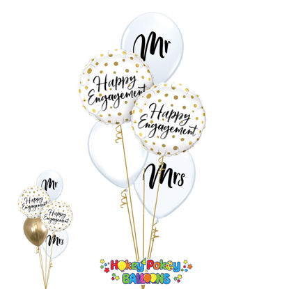 Picture of Happy Couple - Engagement Balloon Bouquet of 5
