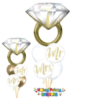 Picture of Glitter Gold with Diamond Ring Balloon Bouquet of 5