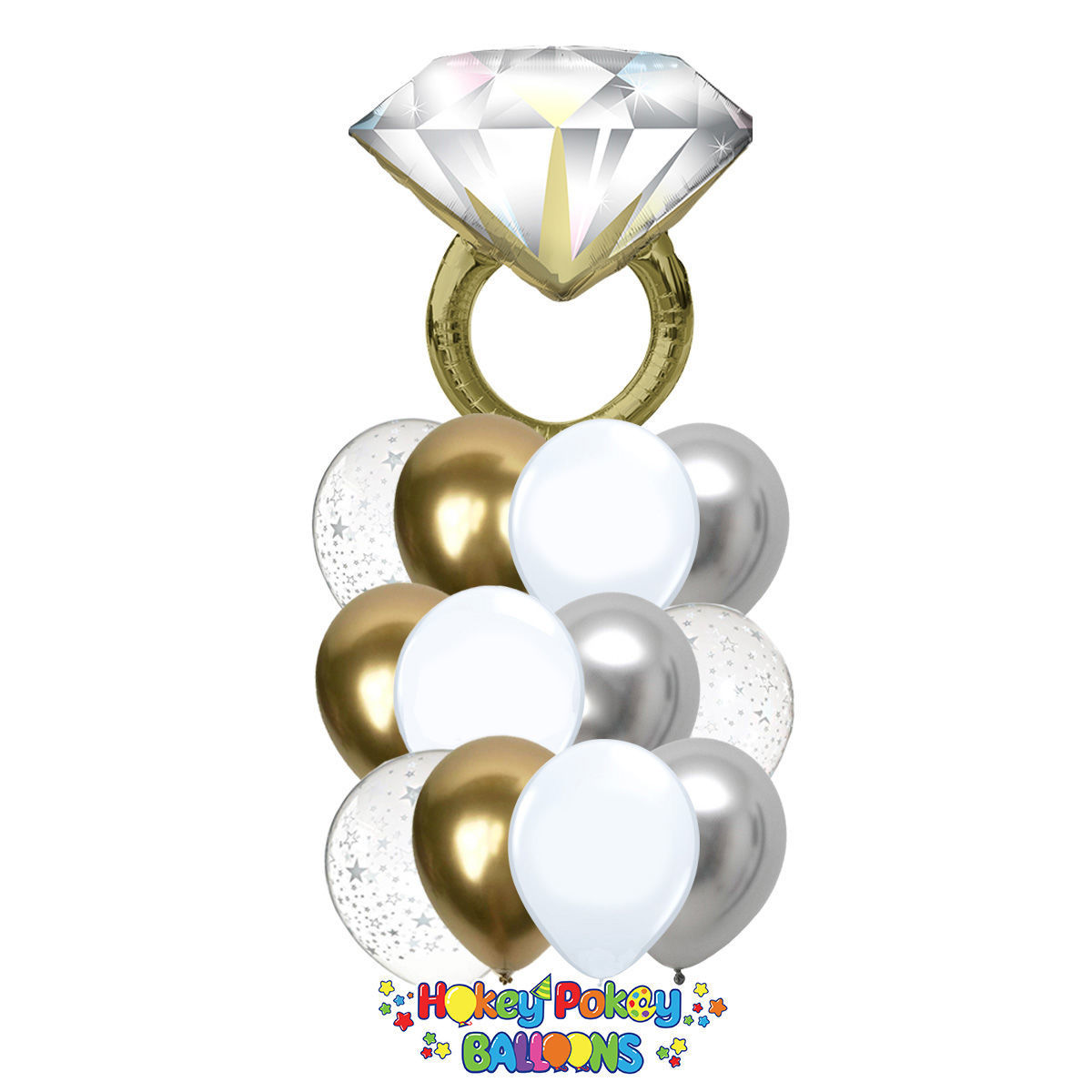Picture of Luxury Diamond Ring - Balloon Bouquet of 13