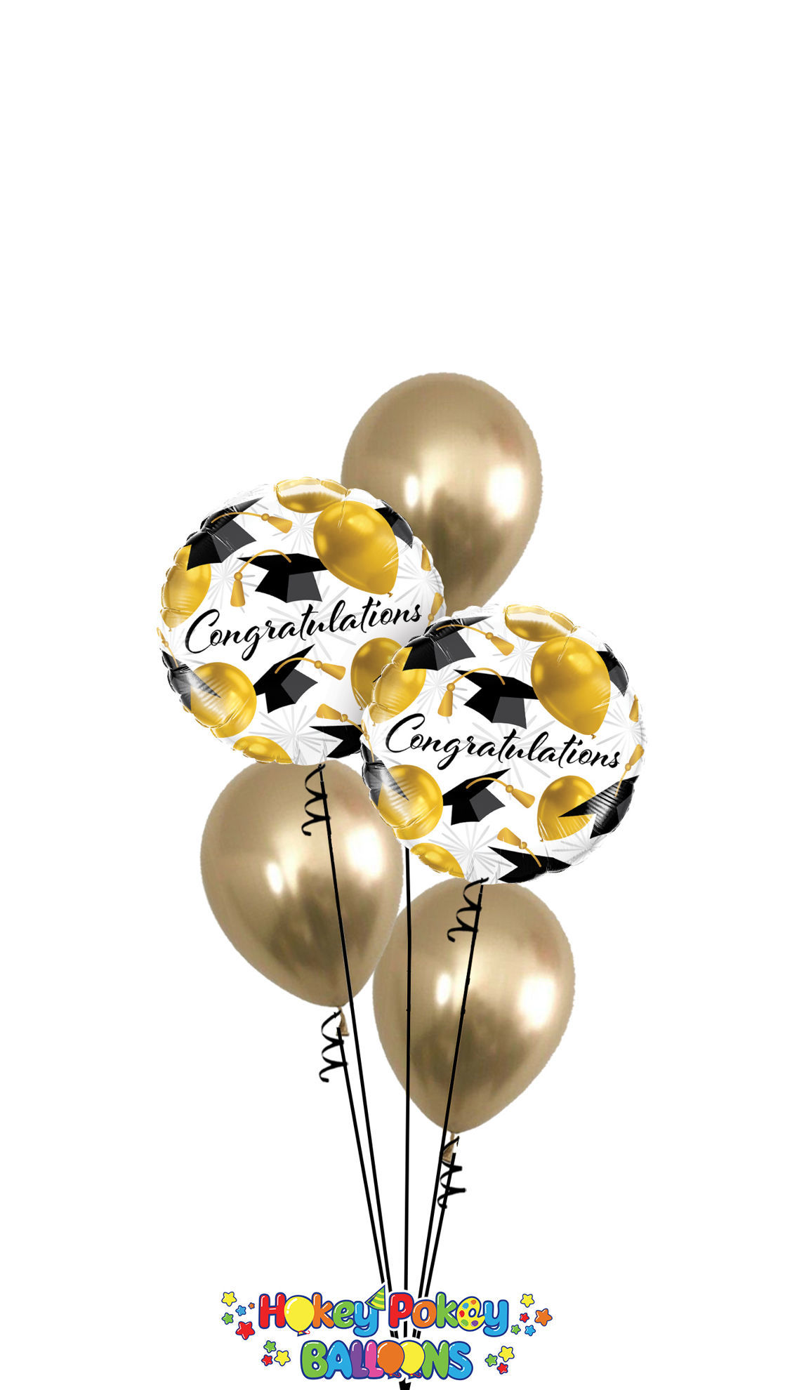 Picture of Congratulations with Gold  Latex - Balloon Bouquet (5 pc)