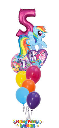 Picture of My Little Pony Rainbow Dash with Number - Balloon Bouquet  (9pc)