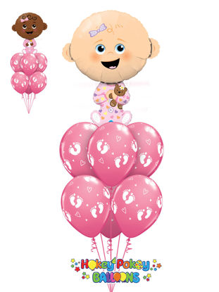 Picture of Baby Girl with Baby Foot Print - Balloon Bouquet