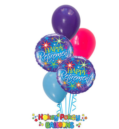 Picture of Colorful Burst of Happy Retirement - Balloon Bouquet (5 pc)