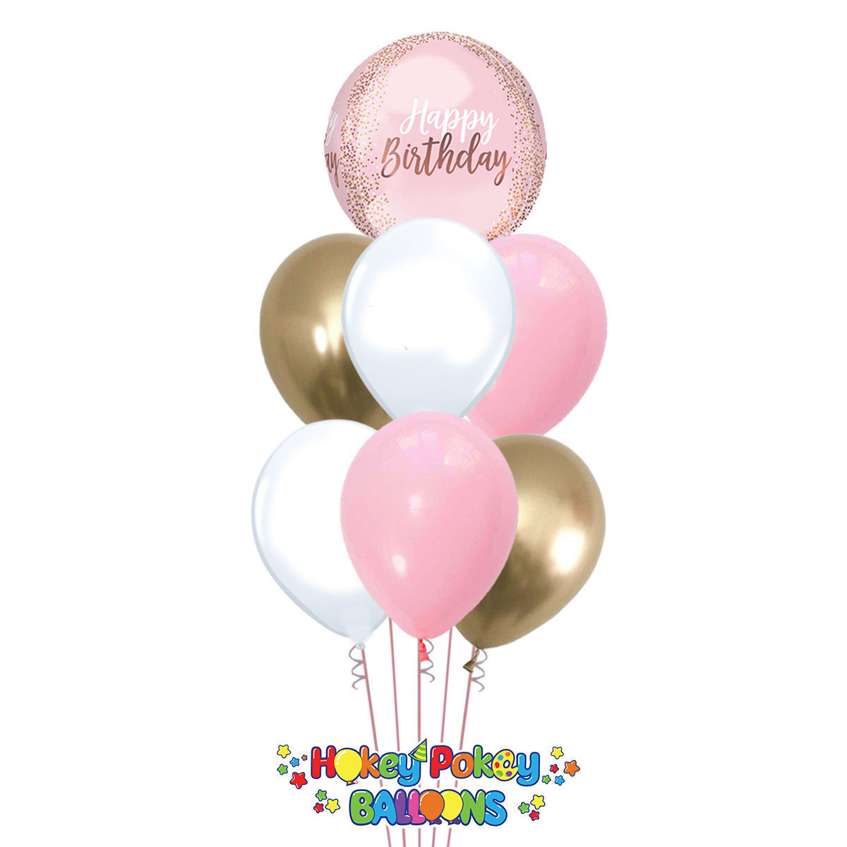Picture of Blush Birthday with Gold Balloon Bouquet of 7