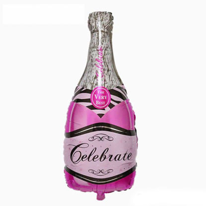 """Picture of 39"""" Celebrate Pink Bubbly Wine Bottle  Foil Balloon  (helium-filled)"""