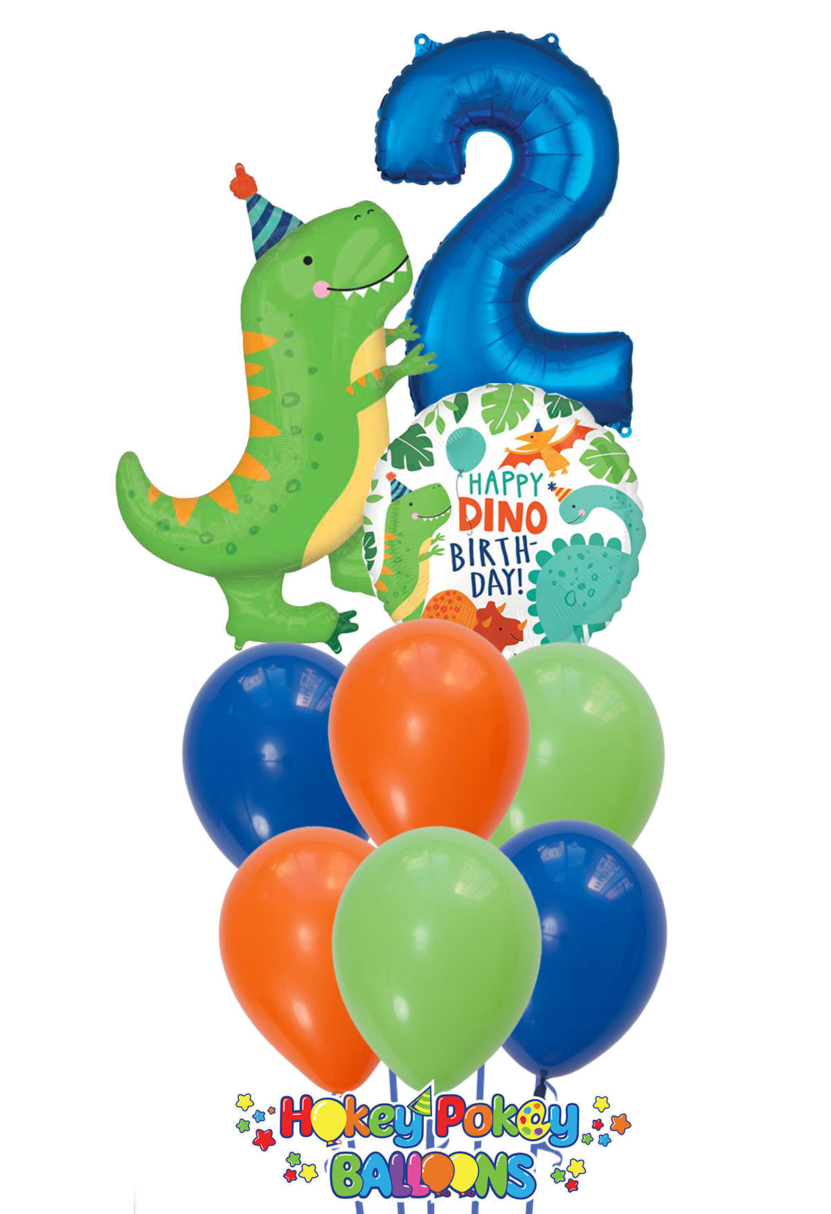 Picture of Happy DINO with Number - Dinosaur Birthday Balloon Bouquet  (9pc)