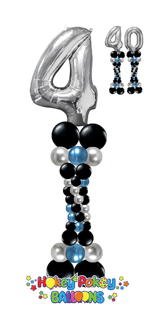 Picture of Elegant Balloon Column (up to 4 colors) with Foil Number