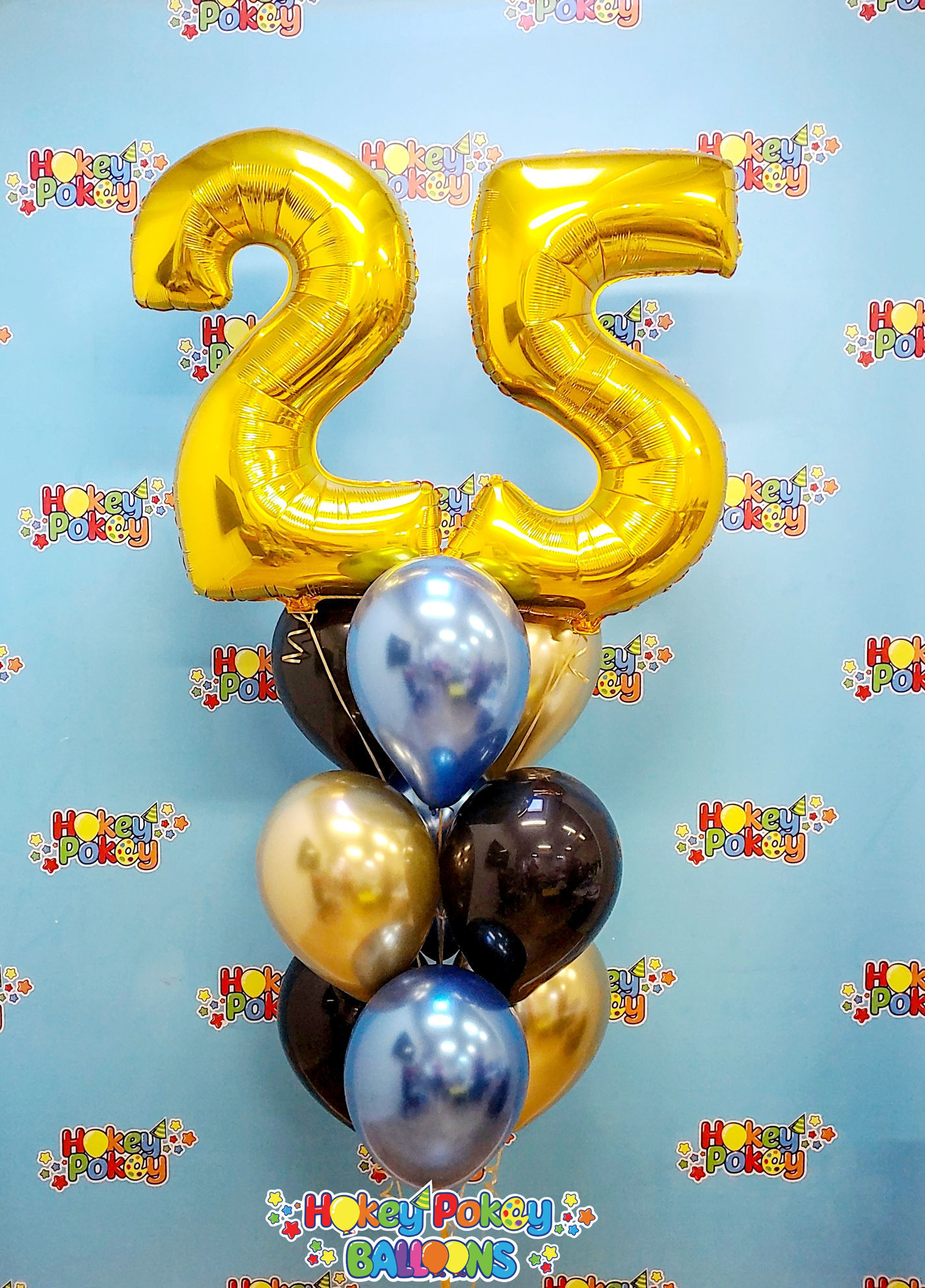 Picture of 11 Inch Helium Balloon Bouquet of 9  with 2 foil Numbers