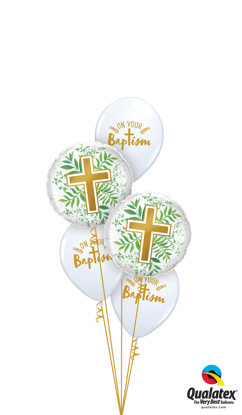 Picture of Your Baptism with Gold Cross and Greenery Balloon Bouquet (5 pc)