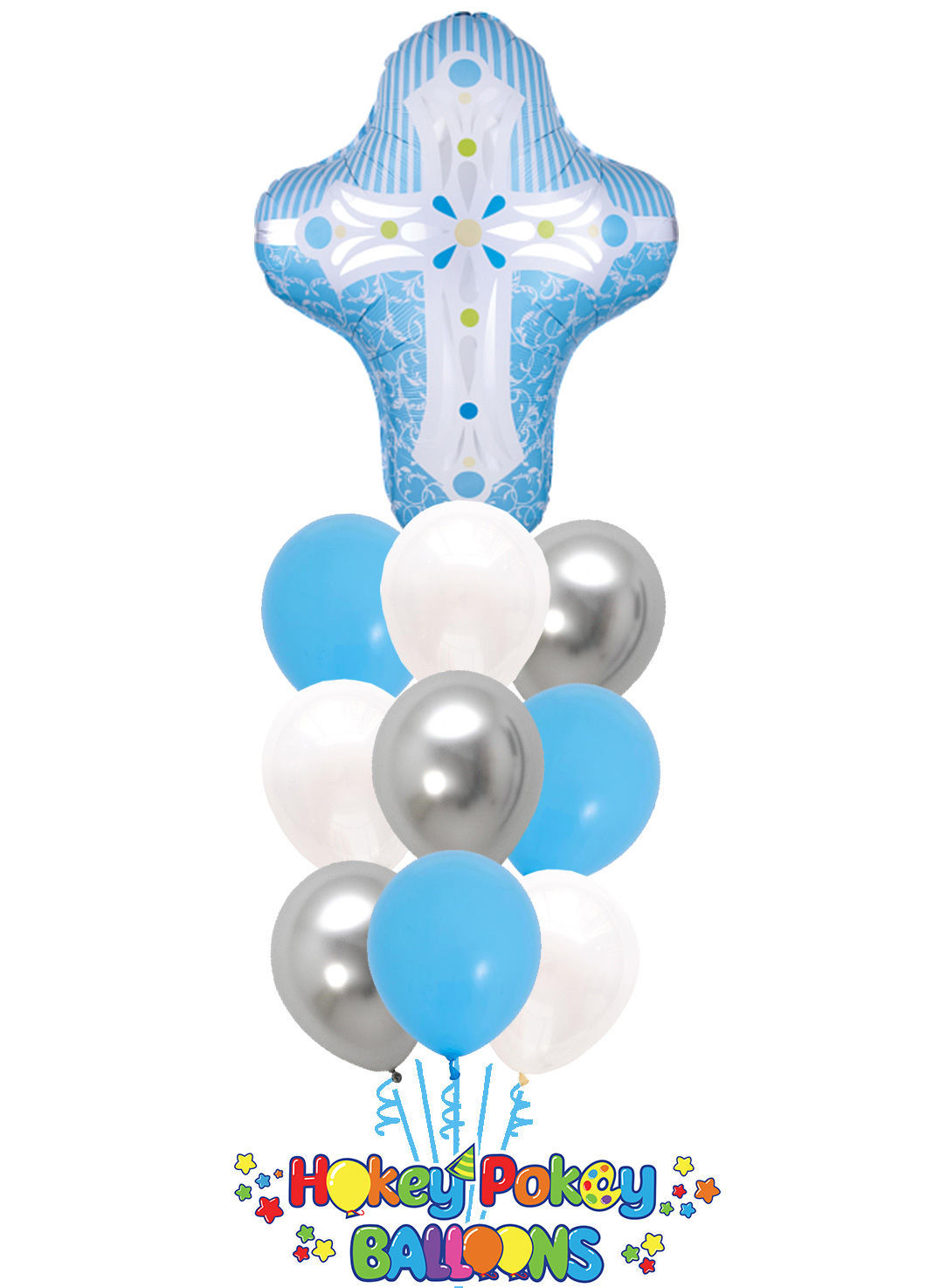 Picture of God Bless You with Blue Cross Balloon Bouquet of 10