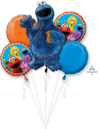 Picture of Sesame Street Cookie Monster - Balloon Bouquet (5pc)