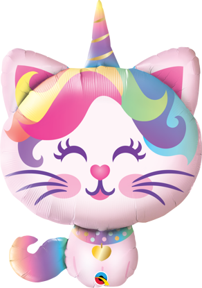 """Picture of 38"""" Mythical Caticorn Foil Balloon  (helium-filled)"""