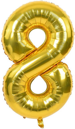 """Picture of 16"""" Gold Foil Number - 8 (air-filled)"""