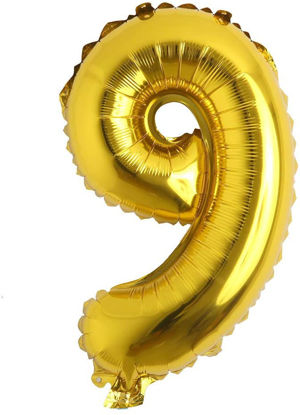 """Picture of 16"""" Gold Foil Number - 9 (air-filled)"""
